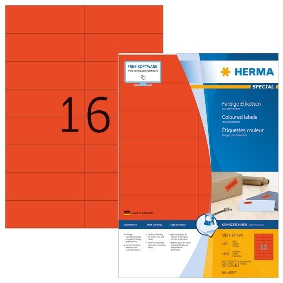 HERMA 4257 Farbige Etiketten A4 105x37 mm rot Papier matt 1600 S