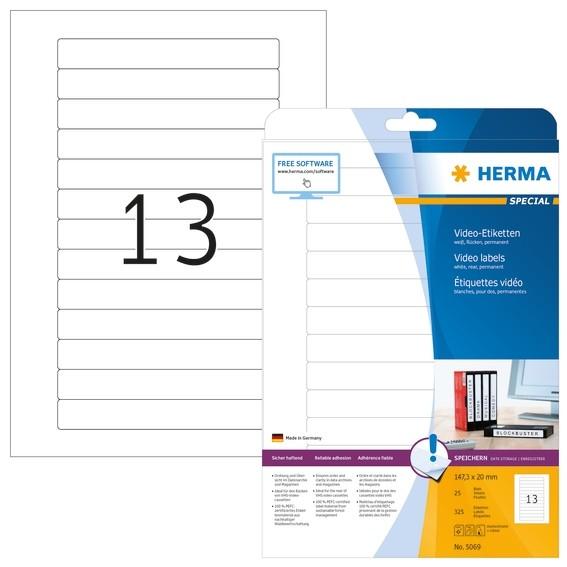 HERMA 5069 Video-Etiketten A4 147,3x20 mm weiß Papier matt 325 S