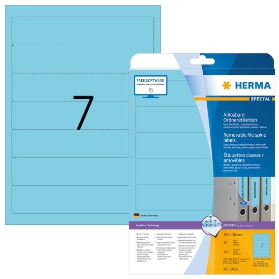 HERMA 10158 Ablösbare Ordneretiketten A4 192x38 mm blau Movables