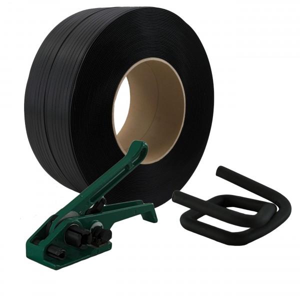 12 mm PP Umreifung Set Umreifungsband Bandspanner Metallklemmen