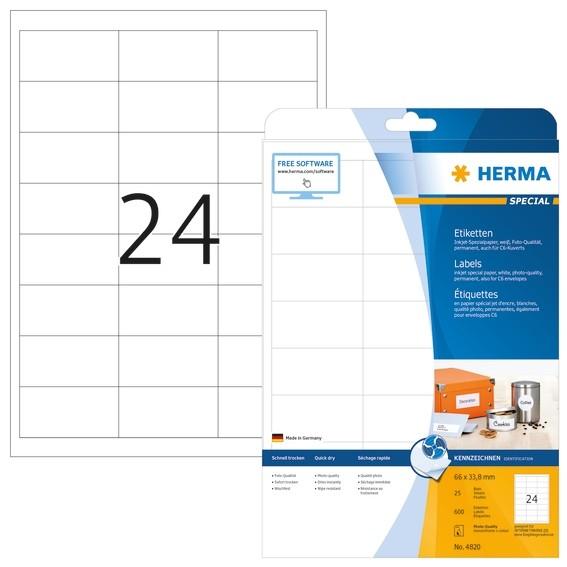 HERMA 4820 Inkjet-Etiketten A4 66x33,8 mm weiß Papier matt 600 S