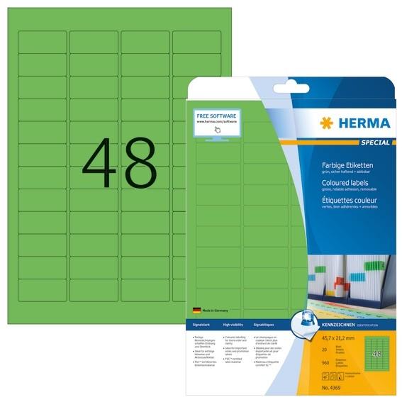 HERMA 4369 Farbige Etiketten A4 45,7x21,2 mm grün ablösbar Papie