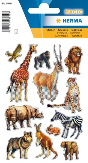 HERMA 3649 10x Sticker MAGIC Tiere Afrikas, Prismaticfolie