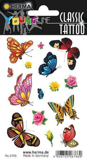 HERMA 6766 10x Tattoos Colour Art Schmetterlinge