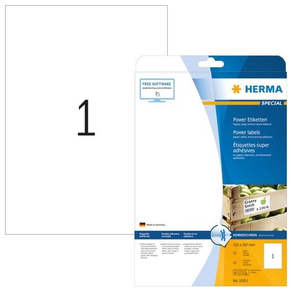 HERMA 10911 Etiketten A4 210x297 mm weiß extrem stark haftend Pa