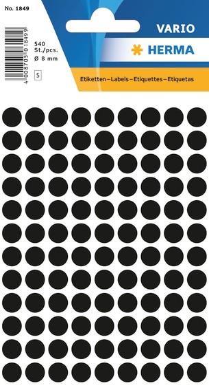 HERMA 1849 Vielzwecketiketten Ø 8 mm rund schwarz Papier matt 54