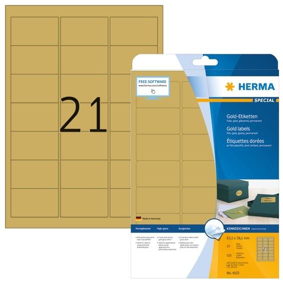 HERMA 4103 Etiketten A4 63,5x38,1 mm gold Folie glänzend 525 St.