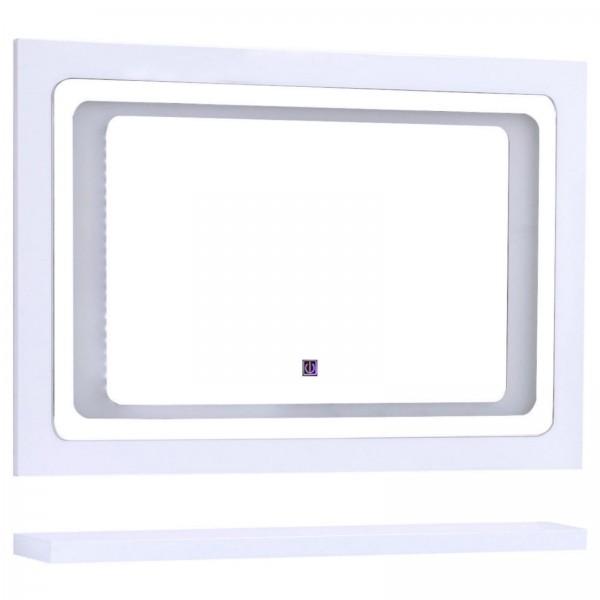 Midori Badmöbel Set Spiegel LED Touch Weiß Hochglanz 90 cm