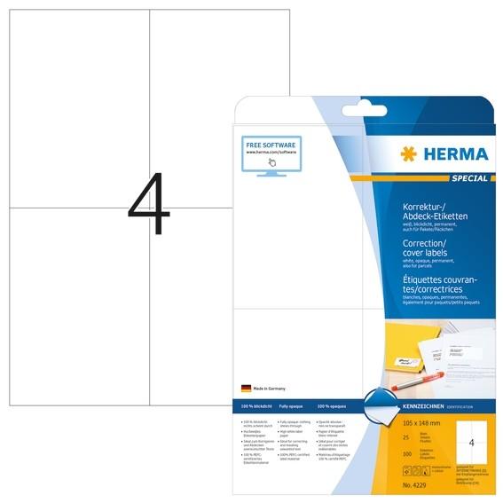 HERMA 4229 Korrektur-/Abdecketiketten A4 105x148 mm weiß Papier
