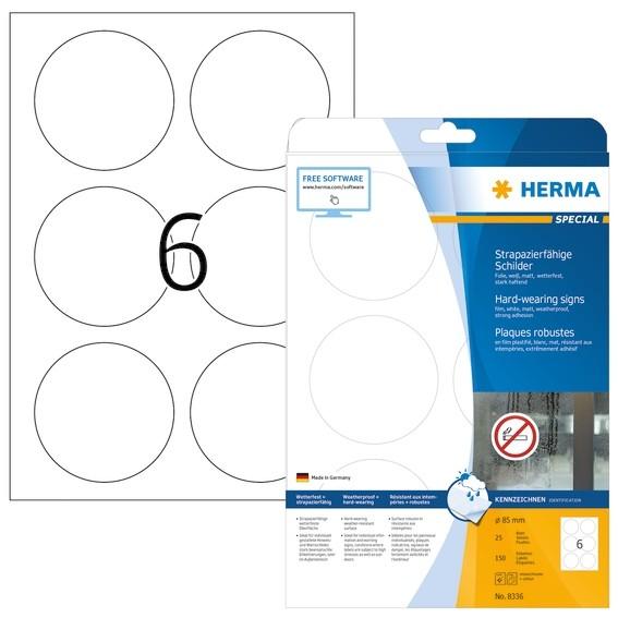 HERMA 8336 Schilder strapazierfähig A4 Ø 85 mm rund weiß stark h