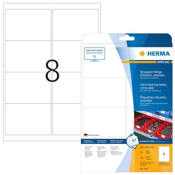 HERMA 4575 Wetterfeste Folien-Etiketten A4 99,1x67 mm ablösbar w