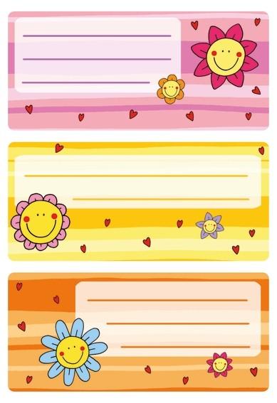 HERMA 5593 10x Schuletiketten Blumengesichter