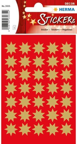 HERMA 3935 10x Sticker DECOR Sterne 8-zackig, gold Ø 16 mm