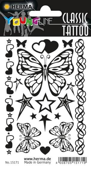 HERMA 15171 10x CLASSIC Tattoo Black Butterfly