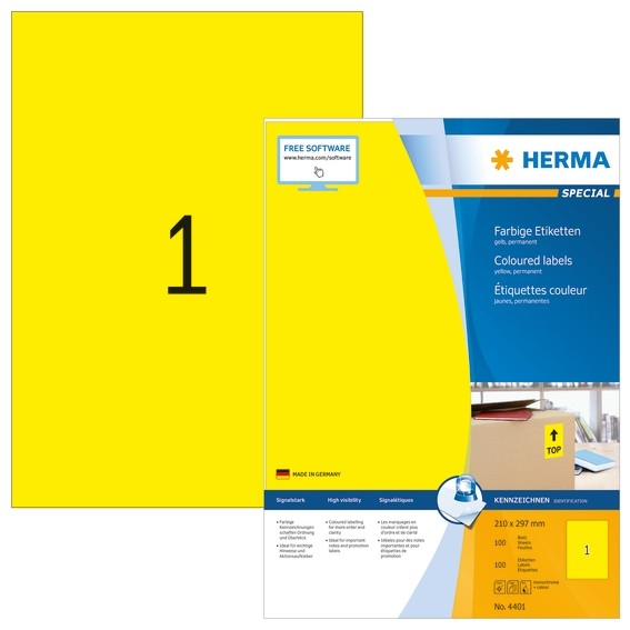 HERMA 4401 Farbige Etiketten A4 210x297 mm gelb Papier matt 100