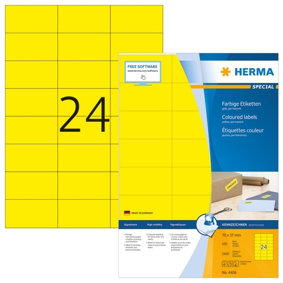 HERMA 4406 Farbige Etiketten A4 70x37 mm gelb Papier matt 2400 S