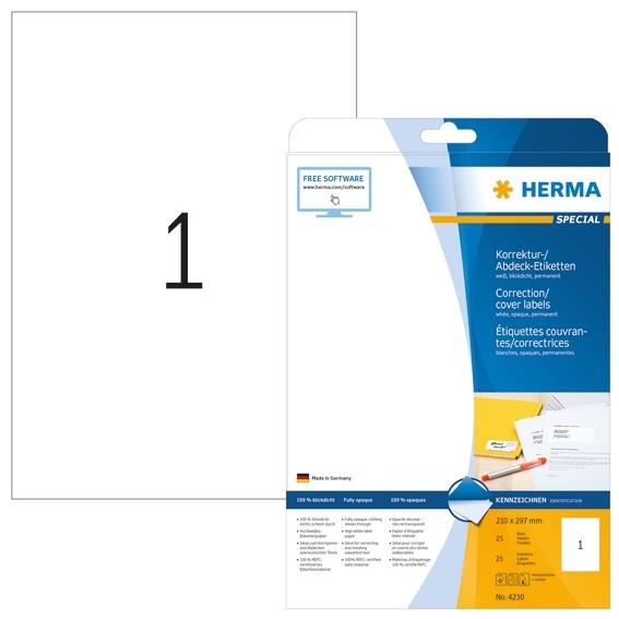 HERMA 4230 Korrektur-/Abdecketiketten A4 210x297 mm weiß Papier