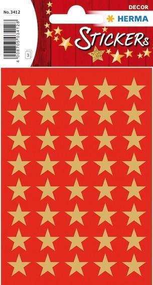 HERMA 3412 10x Sticker DECOR Sterne 5-Zackig, gold Ø 13 mm