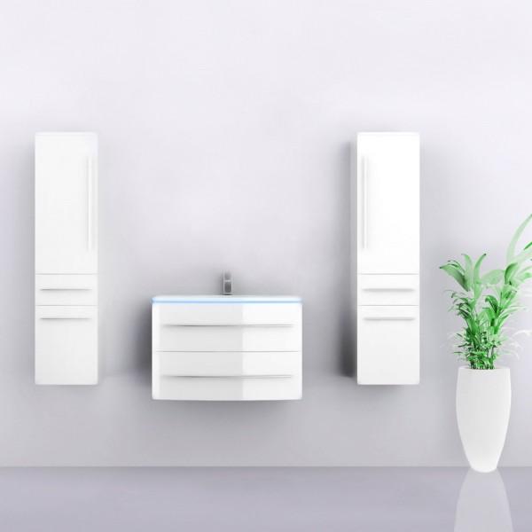 Midori Badmöbel Set Hochschränke Weiß Hochglanz 70 cm
