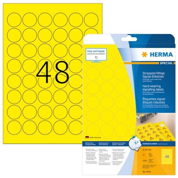 HERMA 8034 Signal-Etiketten strapazierfähig A4 Ø 30 mm rund gelb