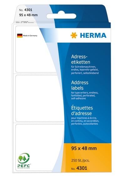 HERMA 4301 Adressetiketten für Schreibmaschinen endlos leporello