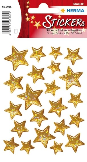 HERMA 3936 10x Sticker MAGIC Sterne 5-zackig, Stone
