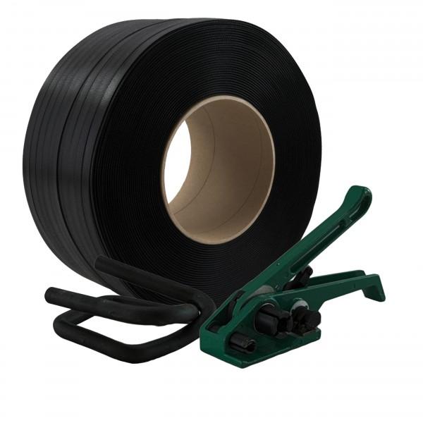16 mm PP Umreifung Set Umreifungsband Bandspanner Metallklemmen