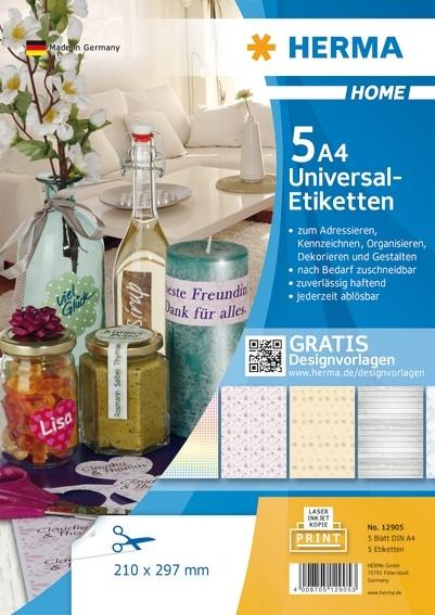 HERMA 12905 Ablösbare Universal-Etiketten A4 210x297 mm weiß Pap