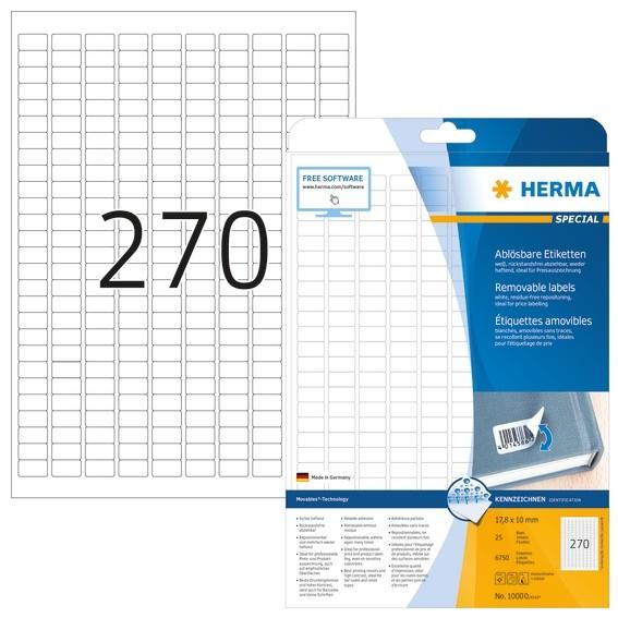 HERMA 10000 Ablösbare Etiketten A4 17,8x10 mm weiß Movables/ablö