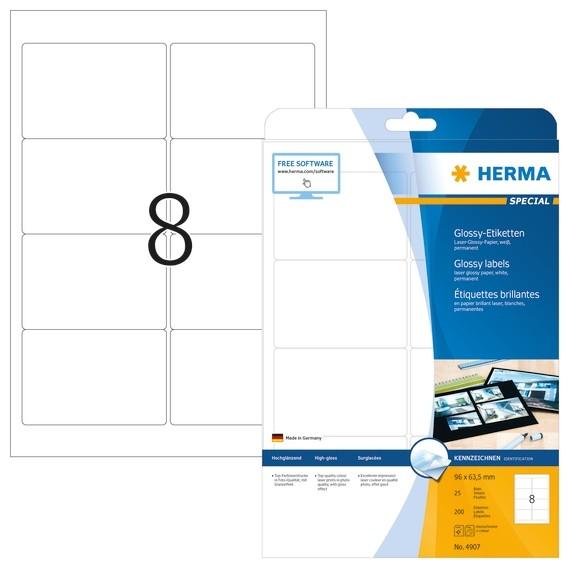 HERMA 4907 Etiketten A4 96x63,5 mm weiß Papier glänzend 200 St.