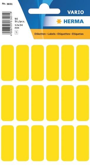 HERMA 3651 Vielzwecketiketten 12x34 mm gelb Papier matt 900 St.