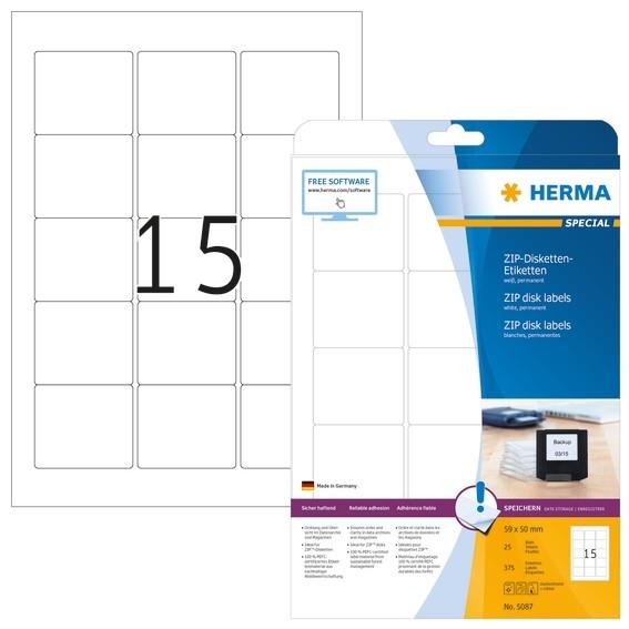 HERMA 5087 ZIP-Disk-Etiketten A4 59x50 mm weiß Papier matt 375 S