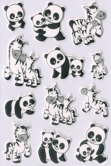 HERMA 6021 10x Sticker MAGIC Panda- und Zebrafamilien, Foam
