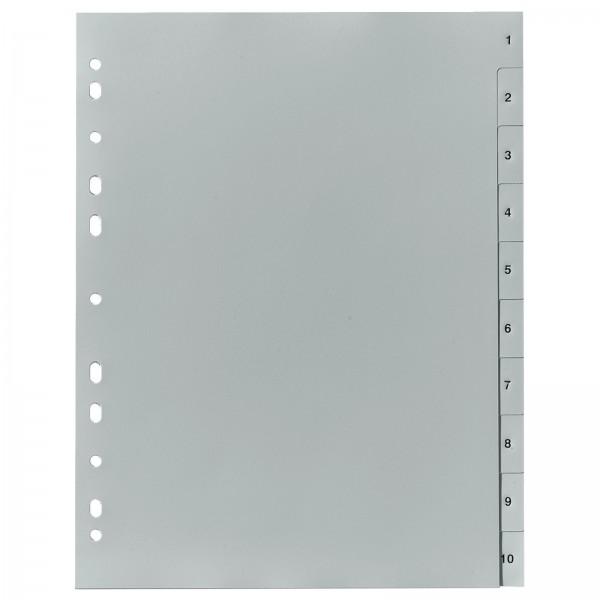 Register DIN A4 PP 10-teilig 1-10 Zahlen Grau