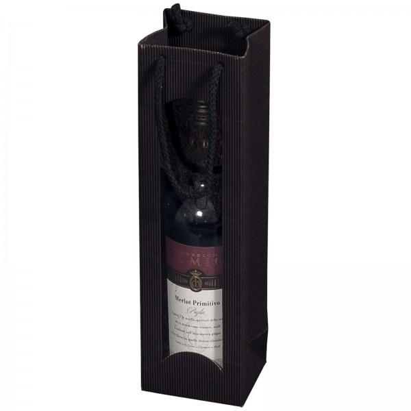 Geschenk-Flaschentasche für 1 Weinflasche mit Sichtfenster Schwarz