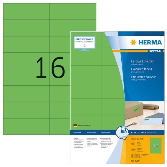 HERMA 4259 Farbige Etiketten A4 105x37 mm grün Papier matt 1600