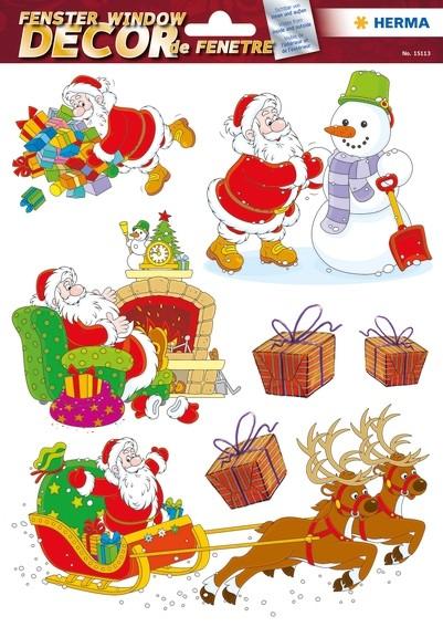 HERMA 15113 5x Fensterdecor Fröhlicher Weihnachtsmann