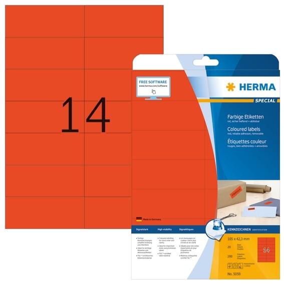 HERMA 5059 Farbige Etiketten A4 105x42,3 mm rot ablösbar Papier