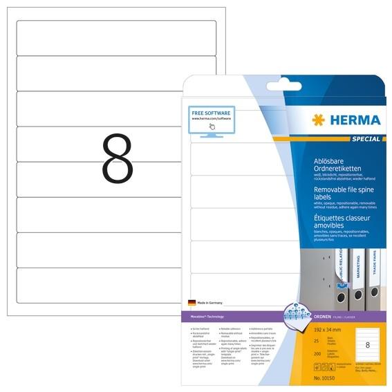 HERMA 10150 Ablösbare Ordneretiketten A4 192x34 mm weiß Movables