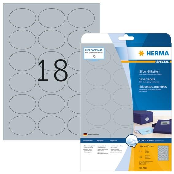 HERMA 4116 Etiketten A4 58,4x42,3 mm silber oval Folie glänzend