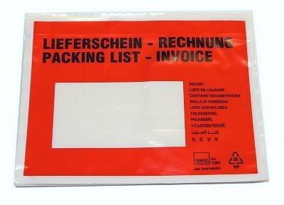 250er Pack DIN C6 Lieferscheintaschen Rot / Bedruckt