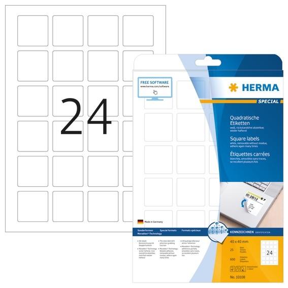 HERMA 10108 Ablösbare Etiketten A4 40x40 mm weiß quadratisch Mov