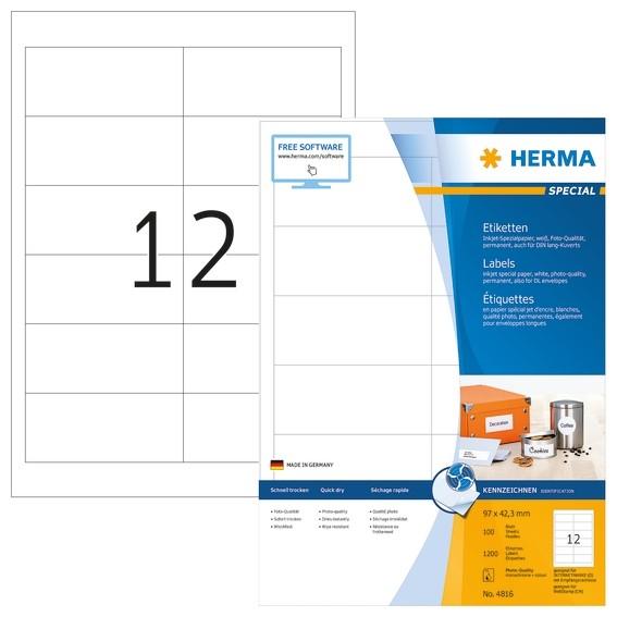 HERMA 4816 Inkjet-Etiketten A4 97x42,3 mm weiß Papier matt 1200