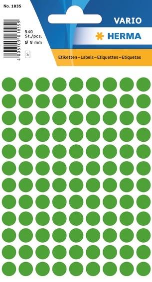 HERMA 1835 Vielzwecketiketten Ø 8 mm rund dunkelgrün Papier matt