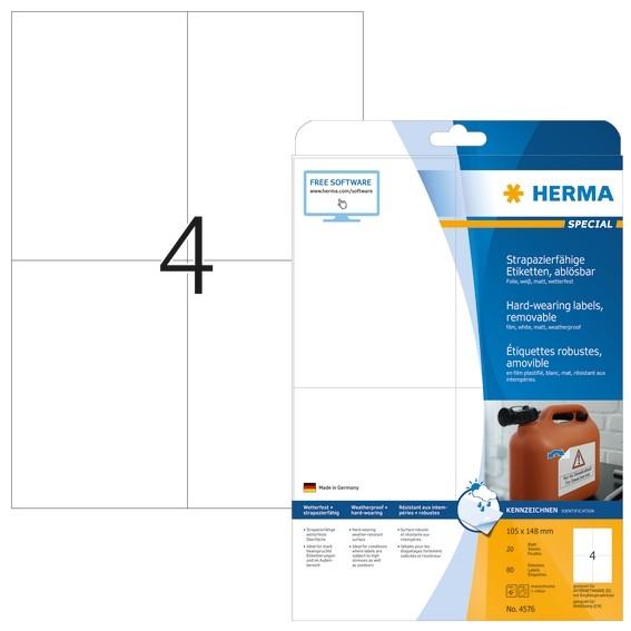 HERMA 4576 Wetterfeste Folien-Etiketten A4 105,0x148,0 mm ablösb