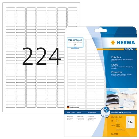 HERMA 8830 Inkjet-Etiketten A4 25,4x8,5 mm weiß Papier matt 5600