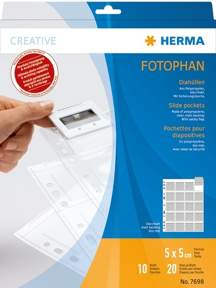 HERMA 7698 Diahüllen für Kleinbild-Dias, Folie klar/matt 10 Hüll