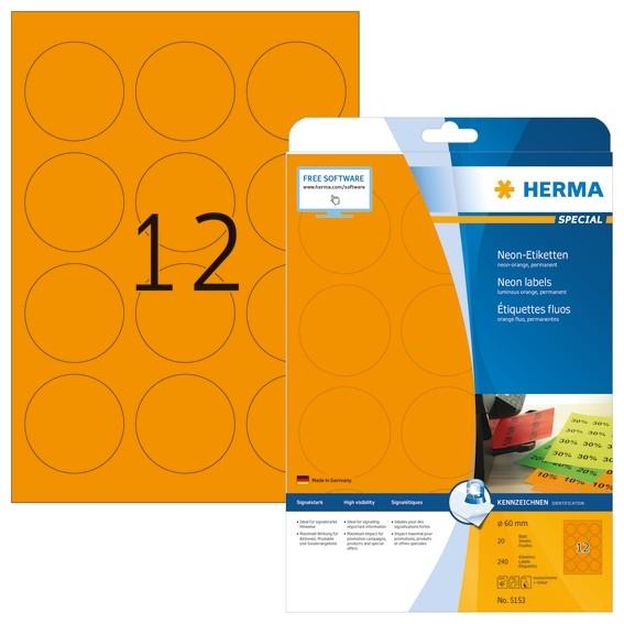 HERMA 5153 Neonetiketten A4 Ø 60 mm rund neon-orange Papier matt