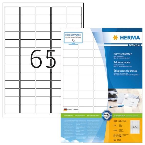 HERMA 4254 Adressetiketten Premium A4 38,1x21,2 mm runde Ecken w