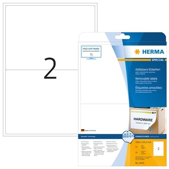 HERMA 10020 Ablösbare Etiketten A4 199,6x143,5 mm weiß Movables/